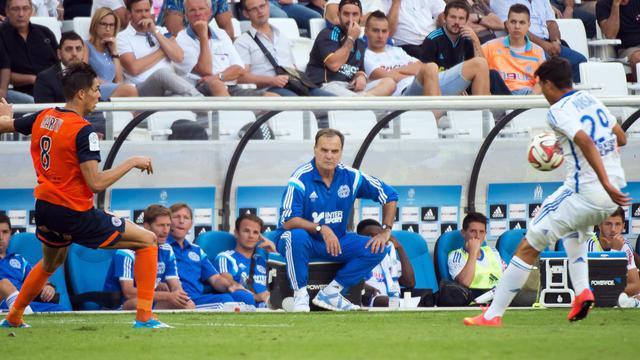 L'entraîneur de l'OM Marcelo Bielsa, lors du match contre Montpellier, le 17 août 2014 au Vélodrome [Bertrand Langlois / AFP]