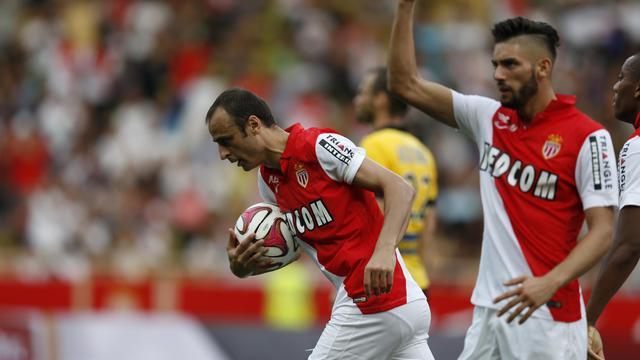 L'attaquant bulgare de Monaco Dimitar Berbatov, buteur contre Lille en Ligue 1, le 30 août 2014 au stade Louis II  [ / AFP]
