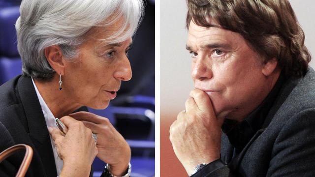 Montage réalisé le 08 juillet 2011 à partir de deux photos d'archives: l'une datée du 20 juin 2011 de la directrice du FMI Christine Lagarde et l'autre datée du 15 février 2008 de l'homme d'affaires Bernard Tapie [Gobert-Demartho  / AFP/Archives]