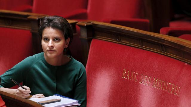 La porte-parole du gouvernement Najat Vallaud-Belkacem à l'assemblée nationale, le 5 février 2014 à Paris [Patrick Kovarik / AFP]