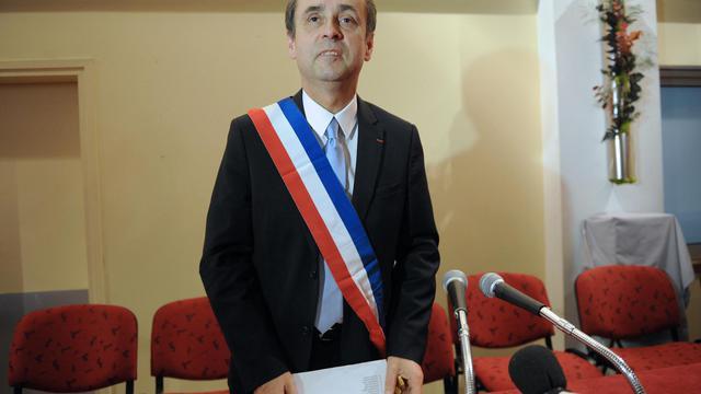 Le maire de Béziers, Robert Ménard, le 4 avril 2014 lors de son premier conseil municipal [Sylvain Thomas / AFP/Archives]
