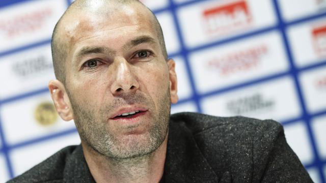 Zinedine Zidane lors d'une conférence de presse, le 4 mars 2014 à Berne [Michael Buholzer / AFP/Archives]