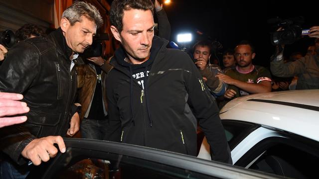 Jérôme Kerviel lors de son arrestation le 18 mai 2014 à Menton [Anne-Christinne Poujoulat / AFP/Archives]
