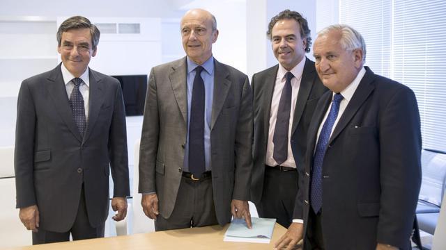 François Fillon, Alain Juppé, Luc Chatel et Jean-Pierre Raffarin, le 17 juin 2014 à Paris [Fred Dufour / AFP/Archives]