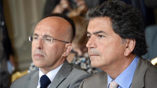 Eric Ciotti (g), député UMP des Alpes Maritimes proche de François Fillon, en compagnie de Pierre Lellouche (d) le 25 juin 2014 à Paris  [Bertrand Guay / AFP/Archives]