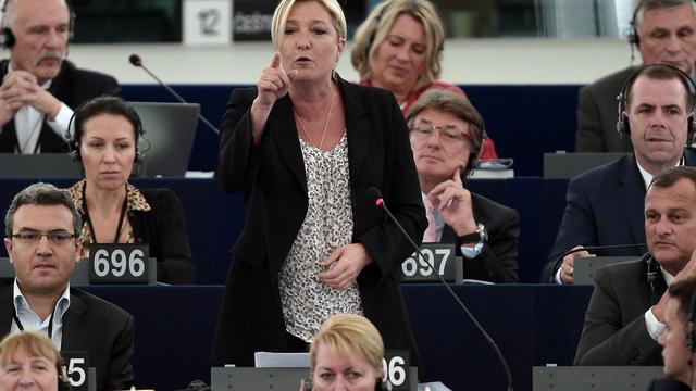 La présidente du Front National (FN)  Marine Le Pen le 2 juin 2014 au Parlement européen à Strasbourg [Frederick Florin / AFP]