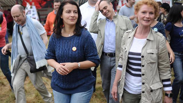 Cecile Duflot à un festival de musique sur le site du projet d'aéroport contesté Notre-Dame-des-Landes, le 5 juillet 2014   [Jean-Sebastien Evrard / AFP/Archives]