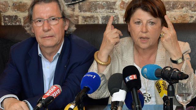 Martine Aubryet Gilles Pargneaux lors d'une conférence de presse le 18 juillet 2014 à Paris [Pierre Andrieu / AFP]
