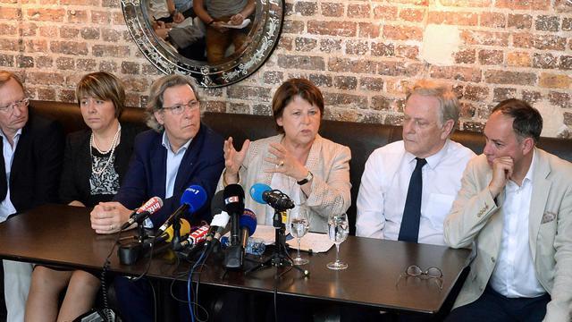 Martine Aubry (c), la maire de Lille, en conférence de presse à Paris le 18 juillet 2014 [Pierre Andrieu / AFP]