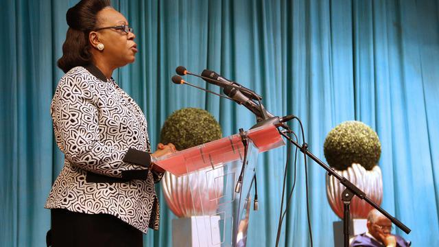 La présidente sud-africaine Catherine Samba-Panza à Brazzaville, le 21 juillet 2014 [Guy-Gervais Kitina / AFP/Archives]