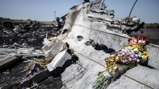 Des fleurs déposées en hommage aux victimes du crash du vol MH17? le 26 juillet 2014 dans la région de Grabove en Ukraine [Bulent Kilic / AFP]