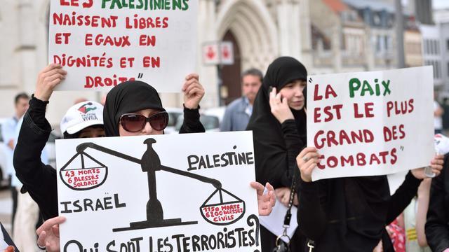 Des manifestants propalestiniens protestent contre les frappes israéliennes sur Gaza, le 29 juillet 2014 à Roubaix [Philippe Huguen / AFP/Archives]