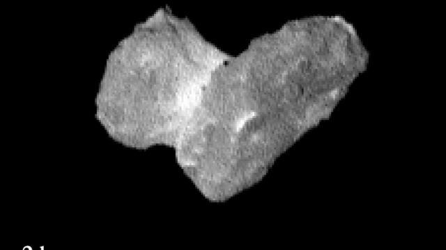 L'image réalisée par l'Agence spatiale européenne le 31 juillet 2014  montre la comète Tchourioumov-Guérassimenko, cible de la sonde Rosetta, à une distance de 1.950 km le 29 juillet 2014 [ / ESA/AFP]