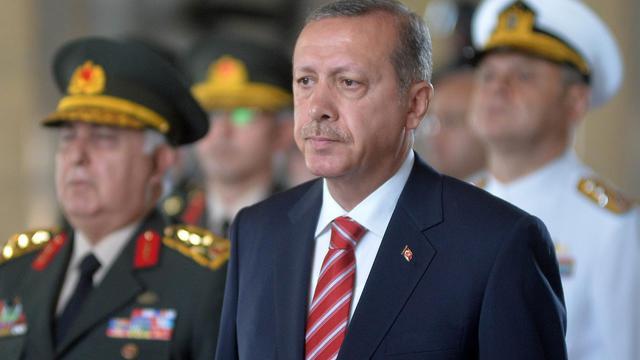 Le premier ministre turc Recep Tayyip Erdogan en visite au mausolée du fondateur de la Turquie Mustafa Kemal Ataturk le 4 août 2014 [ / AFP/Archives]