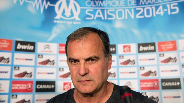 L'entraîneur argentin de l'OM Marcelo Bielsa, en conférence de presse, le 7 août 2014 à Marseille [Bertrand Langlois / AFP/Archives]