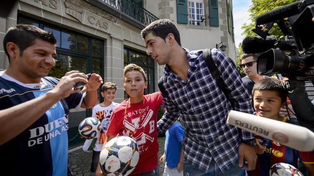 Luis Suarez après avoir plaidé sa cause devant le Tribunal arbitral du sport à Lausanne le 8 août 2014  [Fabrice Coffrini / AFP]