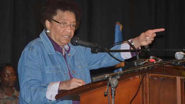 La présidente Ellen Johnson Sirleaf avait ordonné à ses ministres se trouvant hors du pays de rentrer au Liberia dans le cadre de l'état d'urgence décrété le 6 août [Zoom Dosso / AFP/Archives]
