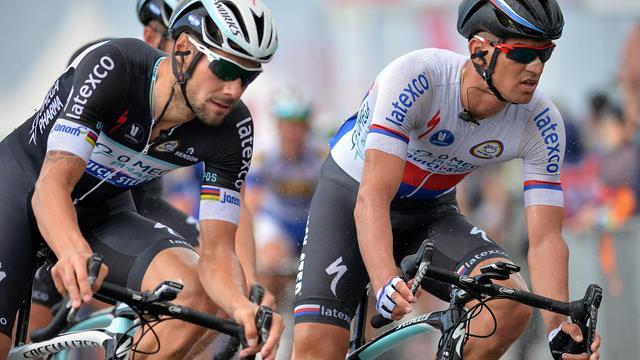 Le Tchèque Zdenekl Stybar (d) lors de la 1re étape du Tour du Benelux, le 11 août 2014 à Terneuzen [David Stockman / Belga/AFP]