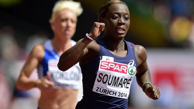 La Française Myriam Soumaré lors des séries du 100 m aux Championnats d'Europe à Zurich, le 12 août 2014 [Olivier Morin / AFP]