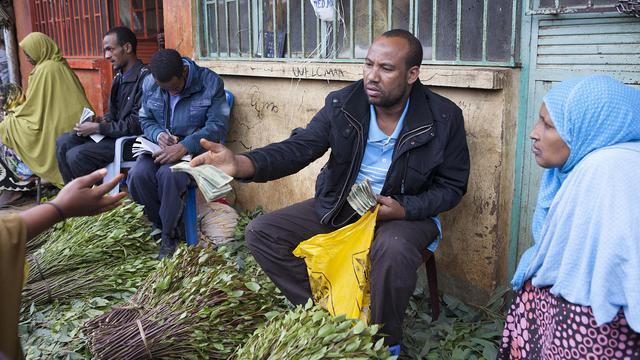 Des commerçants de khat sur le marché de Awaday, dans l'est de l'Ethiopie, le 30 juillet 2014 [Zacharias Abubeker / AFP]