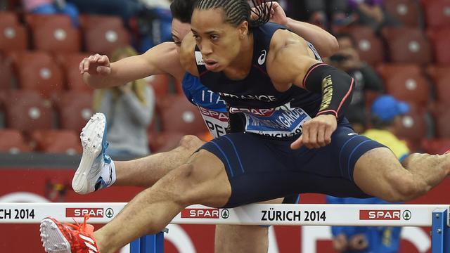 Le Français Pascal Martinot-Lagarde lors des séries du 110 m haies à l'Euro d'athlétisme de Zurich, le 13 août 2014 [Franck Fife / AFP]