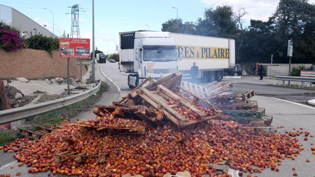 """Des agriculteurs français bloquent le 13 août 2014 avec des montagnes de nectarines l'accès au marché Saint-Charles International, à Perpignan pour protester contre le """"dumping économique"""" pratiqué en Espagne [Raymond Roig / AFP]"""