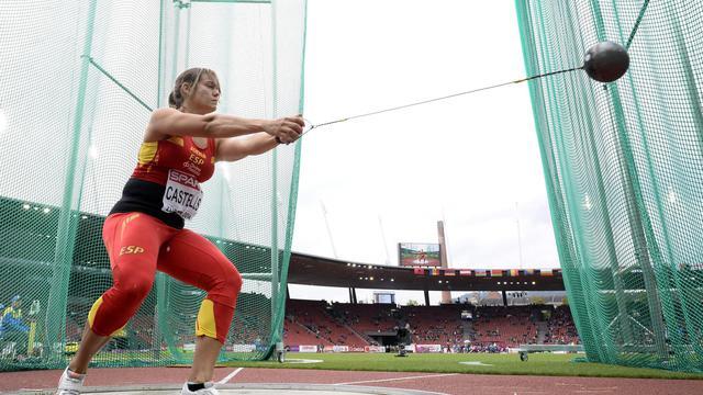 Une concurrente au marteau, le 13 août 2014 aux Championnats d'Europe à Zurich [Franck Fife / AFP]