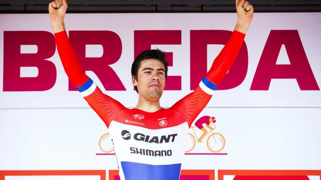 Le Néerlandais Tom Dumoulin, vainqueur de la 3e étape du Tour du Benelux, le 13 août 2014 à Breda [Vincent Jannink / AFP]