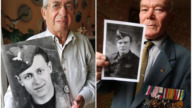 Photomontage montrant deux vétérans de la Seconde guerre mondiale installés depuis en Normandie, l'Allemand Johannes Börner et le Polonais Edouard Podyma [Mychèle Daniau / AFP/Archives]