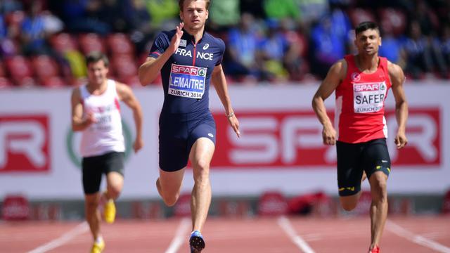 Christophe Lemaitre lors de sa série du 200 m des Championnats d'Europe, le 14 août 2014 à Zurich [Olivier Morin / AFP]