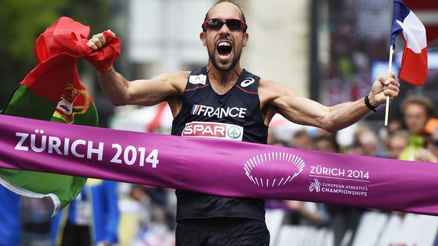 Le Français Yohann Diniz, vainqueur du 50 km marche aux Championnats d'Europe, le 15 août 2014 à Zurich [Michael Buholzer / AFP]