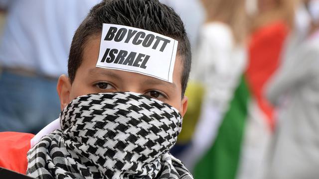 Un manifestant dénonce les actions militaires israéliennes dans la bande de Gaza à Paris le 16 août 2014 en face du Panthéon [Pierre Andrieu / AFP]