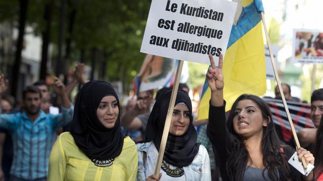 Environ 500 personnes, selon la police, rassemblées à Paris en faveur des Kurdes et des Yazidis en Irak le 16 août 2014  [Alain Jocard / AFP]