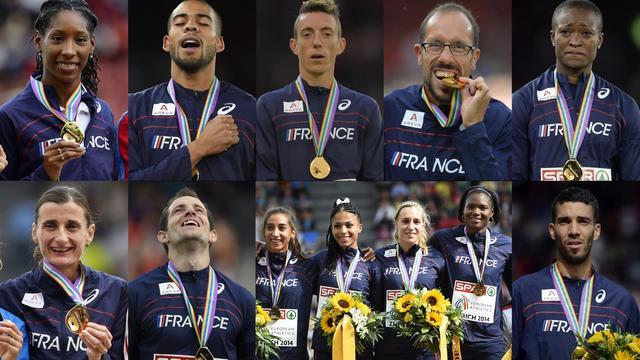 Les neuf médailles d'or de la France aux Championnats d'Europe à Zurich [Franck Fife, Olivier Morin, FABRICE COFFRINI / AFP]