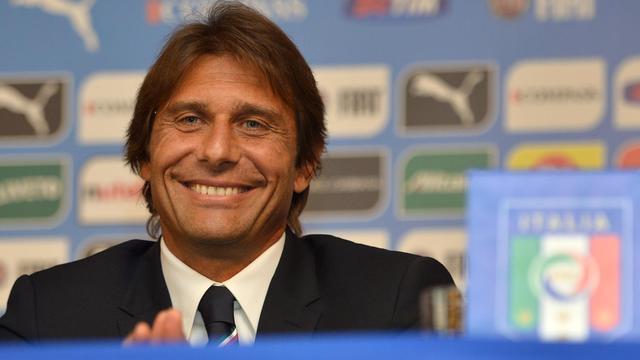 Antonio Conte lors d'une conférence de presse le 19 août 2014 à Rome [Alberto Pizzoli / AFP]