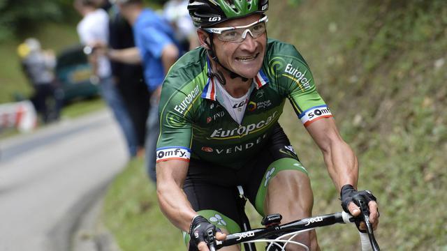 Thomas Voeckler entre Epernay et Nancy, lors du Tour de Francele 11 juillet 2014 [Jeff Pachoud / AFP]