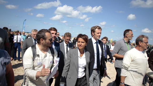 Najat Vallaud-Belkacem arrive à Ouistreham, le 20 juillet 2014  [Charly Triballeau / AFP]