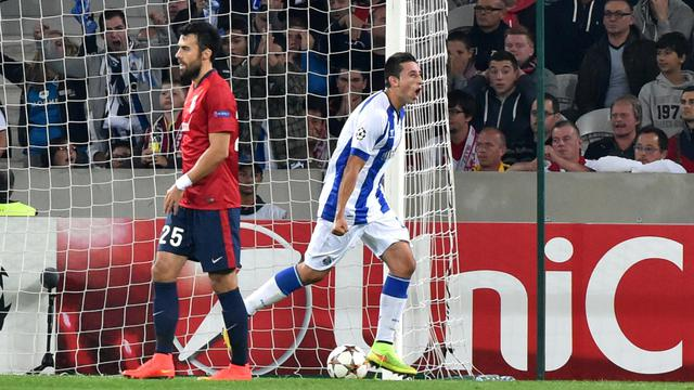 Le Mexicain Hector Herrera, buteur contre Lille, le 20 août 2014 au stade Pierre Mauroy [Philippe Huguen / AFP]