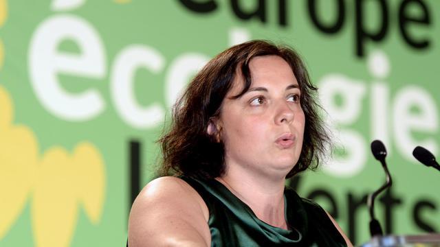 La secrétaire nationale d'Europe-Ecologie-Les-Verts (EELV) Emmanuelle Cosse, le 23 août 2014 à Pessac [Jean-Pierre Muller / AFP]