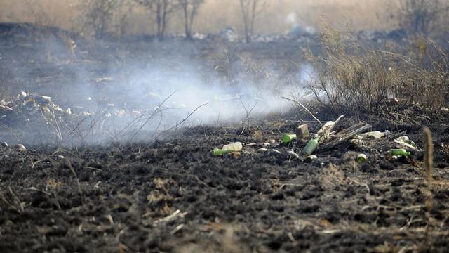 Tirs le 23 août 2014 à Novoazovsk dans la région de Donetsk  [Alexander Khudoteply / AFP]