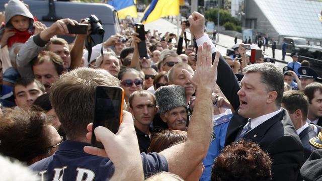 Le président ukrainien Petro Porochenko lors d'une parade militaire marquant le 23e anniversaire de l'indépendance de l'Ukraine à Kiev le 24 août 2014 [Yuriy Kirnichny / AFP]