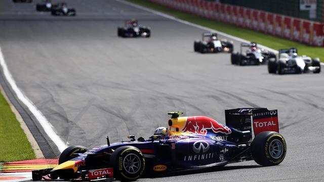 La Red Bull de Daniel Ricciardo sur le circuit de Spa pour le Grand Prix de Belgique le 24 août 2014 [Tom Gandolfini / AFP]