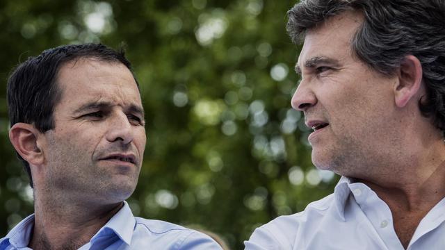 Benoît Hammon et Arnaud Montebourg le 24 août 2014 à Frangy-en-Bresse [Jeff Pachoud / AFP]