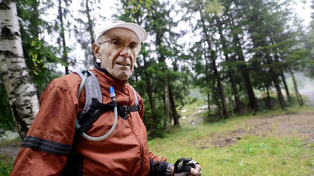 Jean-Louis Anfossi, 70 ans, le 26 août 2014, qui s'apprête à courir l'ultra-trail du Mont-Blanc [Jean-Pierre Clatot / AFP]