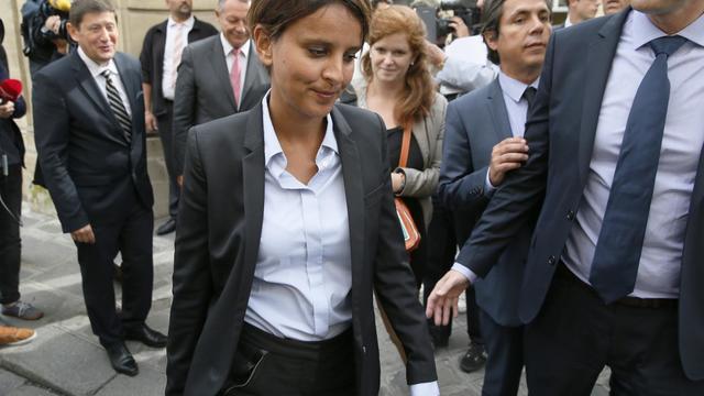 Le nouvelle ministre de l'Education Najat Vallaud-Belkacem le 27 août 2014 à Paris [Patrick Kovarik / AFP]