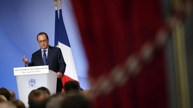 Le président français François Hollande lors de la conférence annuelle des ambassadeurs français, au Palais de l'Elysée le 28 août 2014 [Christophe Ena / Pool/AFP]