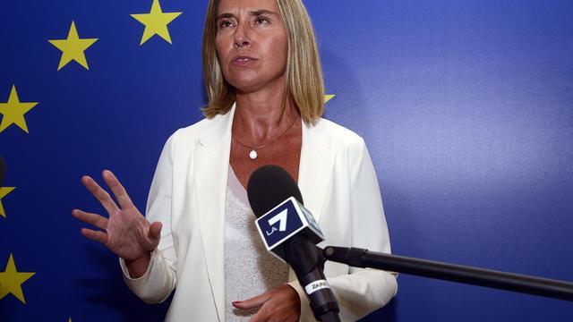 La ministre italienne des Affaires étrangères et candidate des dirigeants sociaux-démocrates européens au poste de chef de la diplomatie européenne, le 29 août 2014 à Milan [Giuseppe Aresu / AFP]