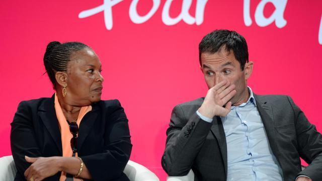 Benoît Hamon en compagnie de la garde de Sceaux Christiane Taubira à La Rochelle, le 30 août 2014 [Jean-Pierre Muller / AFP]
