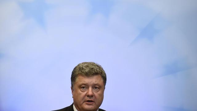 Le président ukrainien Petro Poroshenko tient une conférence de presse en marge du sommet de l'Union européenne à Bruxelles le 30 août 2014  [John Thys / AFP]
