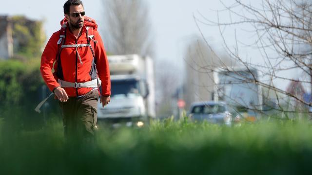 L'ex-trader Jérôme Kerviel quitte Modène, en Italie, le 19 mars 2014 [Gabriel Bouys / AFP]